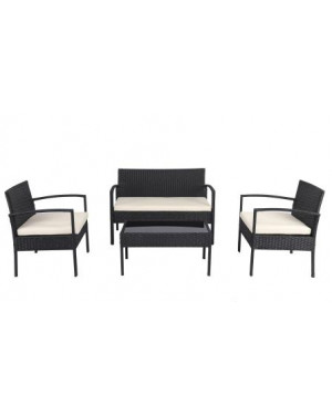 Poly Rattan 4 teiliges Lounge Set, Schwarz